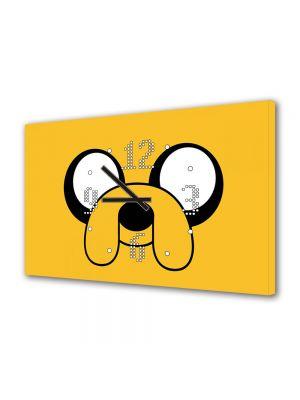 Tablou Canvas cu Ceas Animatie pentru Copii Adventure Time Jake, 30 x 45 cm