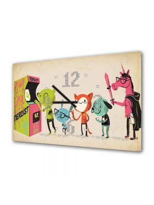 Tablou Canvas cu Ceas Animatie pentru Copii Camera de jocuri, 30 x 45 cm