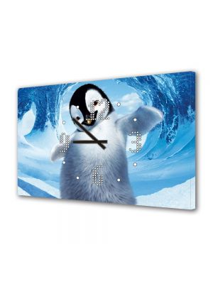 Tablou Canvas cu Ceas Animatie pentru Copii Happy Feet 2, 30 x 45 cm