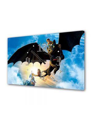 Tablou Canvas cu Ceas Animatie pentru Copii Hiccup and Toothless, 30 x 45 cm