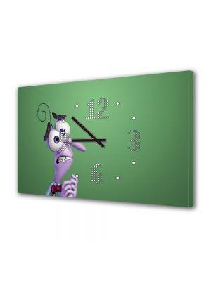 Tablou Canvas cu Ceas Animatie pentru Copii Inside Out 2015 Fear Disney Pixar, 30 x 45 cm