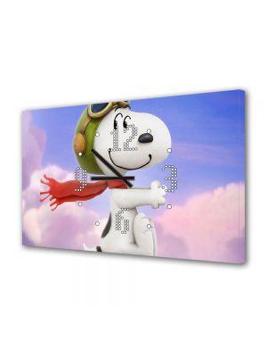 Tablou Canvas cu Ceas Animatie pentru Copii Peanuts Snoopy, 30 x 45 cm