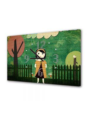 Tablou Canvas cu Ceas Animatie pentru Copii Dupa amiaza in parc, 30 x 45 cm