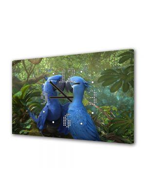 Tablou Canvas cu Ceas Animatie pentru Copii Rio 2 Blue si Jewel, 30 x 45 cm