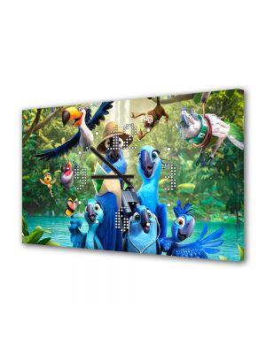 Tablou Canvas cu Ceas Animatie pentru Copii Rio 2 Film de Animatie, 30 x 45 cm