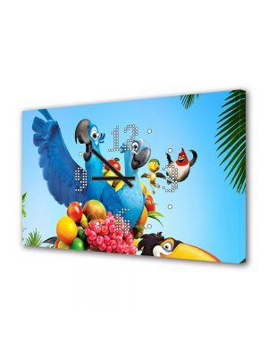 Tablou Canvas cu Ceas Animatie pentru Copii Rio Papagalul Albastru, 30 x 45 cm