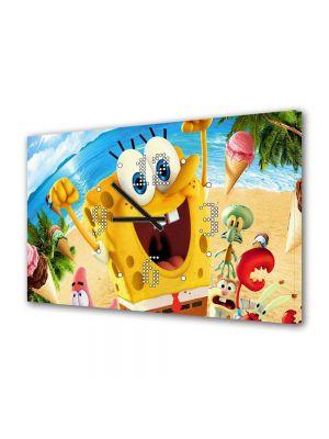 Tablou Canvas cu Ceas Animatie pentru Copii Spongebob 2015, 30 x 45 cm