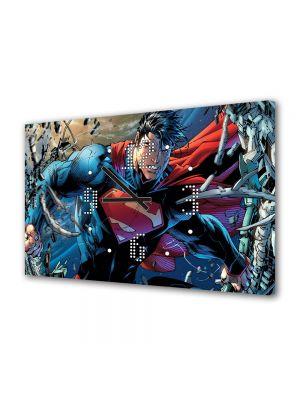 Tablou Canvas cu Ceas Animatie pentru Copii Superman, 30 x 45 cm