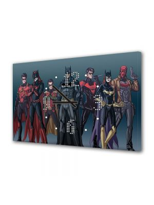 Tablou Canvas cu Ceas Animatie pentru Copii Batman Echipa, 30 x 45 cm