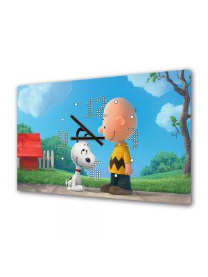 Tablou Canvas cu Ceas Animatie pentru Copii Peanuts Film de Animatie, 30 x 45 cm