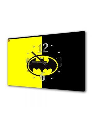 Tablou Canvas cu Ceas Animatie pentru Copii Batman Ilustratie Sigla, 30 x 45 cm