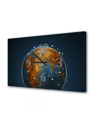 Tablou Canvas cu Ceas Animatie pentru Copii Avioane, 30 x 45 cm