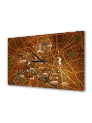 Tablou Canvas cu Ceas Animatie pentru Copii Paris, 30 x 45 cm