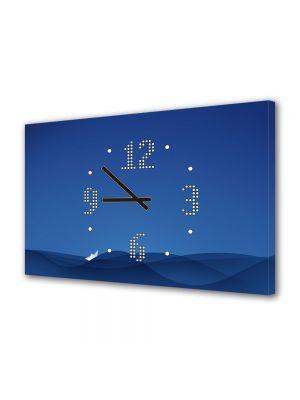 Tablou Canvas cu Ceas Animatie pentru Copii Barca de hartie, 30 x 45 cm