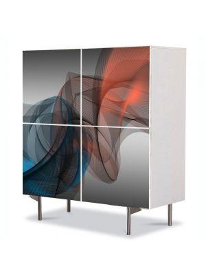 Comoda cu 4 Usi Art Work Abstract Intersectare culori, 84 x 84 cm
