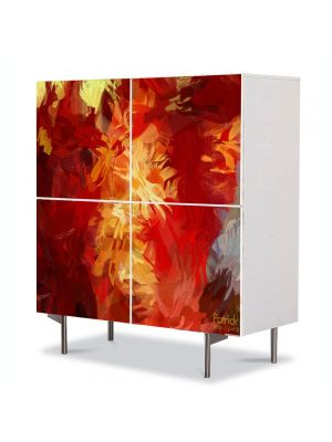 Comoda cu 4 Usi Art Work Abstract Culori calde, 84 x 84 cm