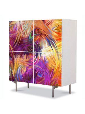 Comoda cu 4 Usi Art Work Abstract Vopsea in culori vii, 84 x 84 cm
