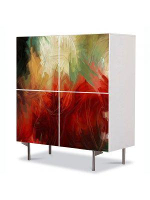 Comoda cu 4 Usi Art Work Abstract Covor colorat, 84 x 84 cm