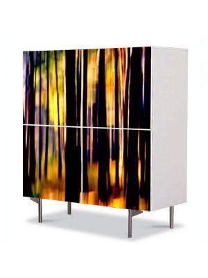 Comoda cu 4 Usi Art Work Abstract Trunchiuri copaci, 84 x 84 cm