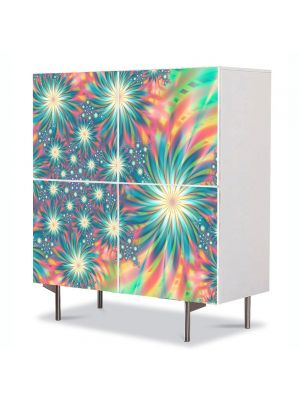 Comoda cu 4 Usi Art Work Abstract Camp de flori, 84 x 84 cm