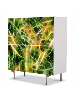 Comoda cu 4 Usi Art Work Abstract Conexiuni, 84 x 84 cm