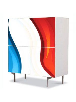 Comoda cu 4 Usi Art Work Abstract Rosu-albastru, 84 x 84 cm