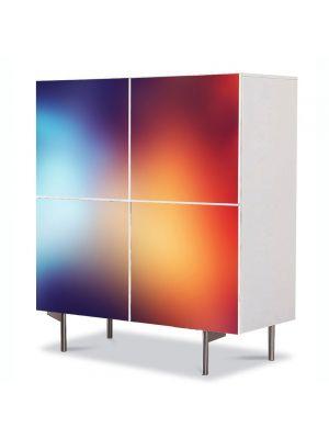 Comoda cu 4 Usi Art Work Abstract Umbre reci, 84 x 84 cm