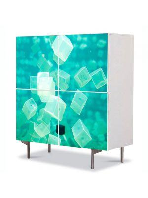 Comoda cu 4 Usi Art Work Abstract Cuburi verzi, 84 x 84 cm