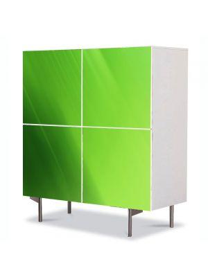 Comoda cu 4 Usi Art Work Abstract Verde crud, 84 x 84 cm