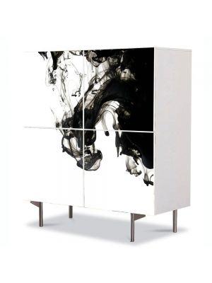 Comoda cu 4 Usi Art Work Abstract Negru dizolvat, 84 x 84 cm