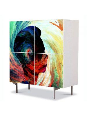 Comoda cu 4 Usi Art Work Abstract Silueta abstract, 84 x 84 cm