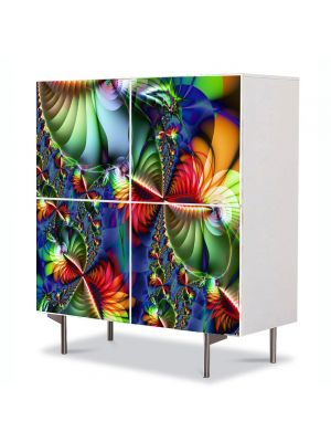 Comoda cu 4 Usi Art Work Abstract Flori colorate, 84 x 84 cm