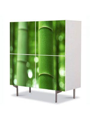 Comoda cu 4 Usi Art Work Abstract Bambus verde, 84 x 84 cm