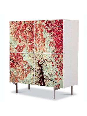 Comoda cu 4 Usi Art Work Abstract Coroane rosii, 84 x 84 cm