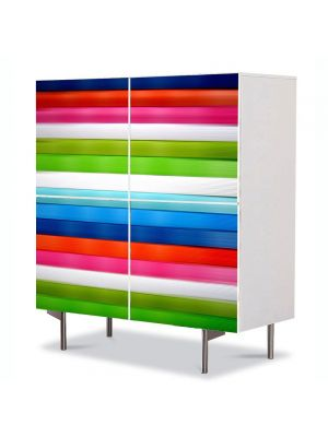 Comoda cu 4 Usi Art Work Abstract Dungi orizontale, 84 x 84 cm
