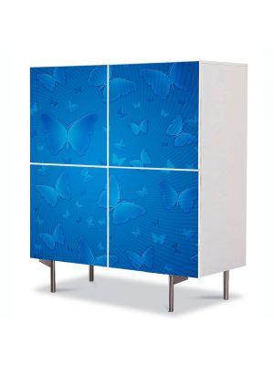 Comoda cu 4 Usi Art Work Abstract Fluturi albastri, 84 x 84 cm