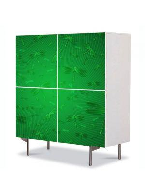 Comoda cu 4 Usi Art Work Abstract Insecte verzi, 84 x 84 cm
