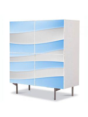 Comoda cu 4 Usi Art Work Abstract Valuri Alb-albastre, 84 x 84 cm