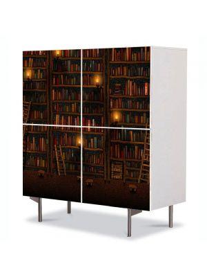 Comoda cu 4 Usi Art Work Abstract Biblioteca, 84 x 84 cm