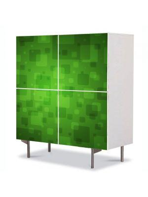 Comoda cu 4 Usi Art Work Abstract Patrate verzi, 84 x 84 cm