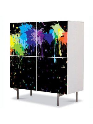Comoda cu 4 Usi Art Work Abstract Culori aruncate, 84 x 84 cm