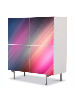Comoda cu 4 Usi Art Work Abstract Raze in  culori pale, 84 x 84 cm