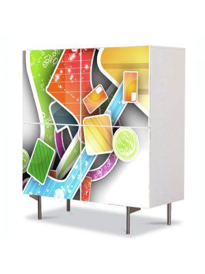 Comoda cu 4 Usi Art Work Abstract Forme in spatiu, 84 x 84 cm