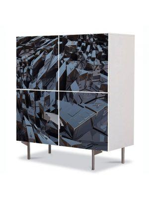 Comoda cu 4 Usi Art Work Abstract Cladiri abstracte, 84 x 84 cm