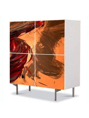 Comoda cu 4 Usi Art Work Abstract Vartej portocaliu, 84 x 84 cm