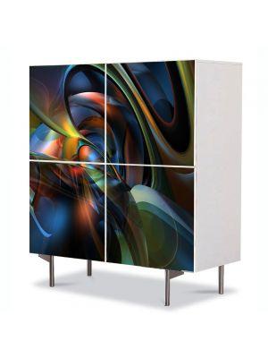 Comoda cu 4 Usi Art Work Abstract Futuristic 5, 84 x 84 cm