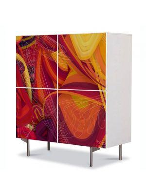 Comoda cu 4 Usi Art Work Abstract Retro, 84 x 84 cm