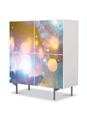 Comoda cu 4 Usi Art Work Abstract Cercuri de lumina, 84 x 84 cm