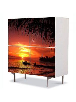 Comoda cu 4 Usi Art Work Abstract Barca la apus, 84 x 84 cm