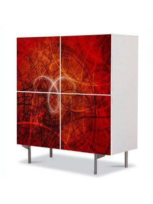 Comoda cu 4 Usi Art Work Abstract Desen rosu, 84 x 84 cm